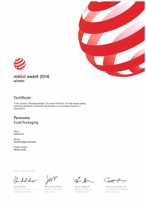 panorama verpackung gewinnt red dot award holstein ei. Black Bedroom Furniture Sets. Home Design Ideas